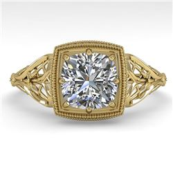 1.0 CTW Certified VS/SI Cushion Diamond Engagement Ring Deco 18K Yellow Gold - REF-344F4N - 36046