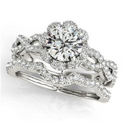 1.93 CTW Certified VS/SI Diamond 2Pc Wedding Set Solitaire Halo 14K White Gold - REF-420A4X - 31184