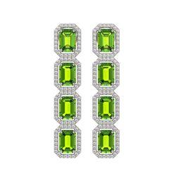 11.98 CTW Peridot & Diamond Halo Earrings 10K White Gold - REF-176T8M - 41453