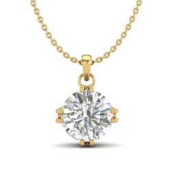 1 CTW VS/SI Diamond Solitaire Art Deco Stud Necklace 18K Yellow Gold - REF-294X2T - 36916