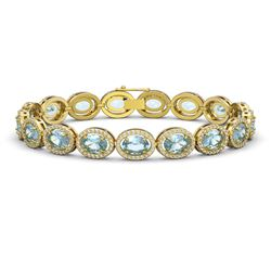 18.38 CTW Aquamarine & Diamond Halo Bracelet 10K Yellow Gold - REF-320T9M - 40627