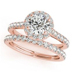 1.71 CTW Certified VS/SI Diamond 2Pc Wedding Set Solitaire Halo 14K Rose Gold - REF-389T6M - 30841