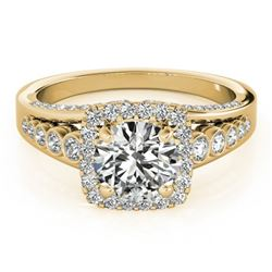 2 CTW Certified VS/SI Diamond Solitaire Halo Ring 18K Yellow Gold - REF-546F9N - 26948