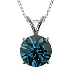 1.53 CTW Certified Intense Blue SI Diamond Solitaire Necklace 10K White Gold - REF-202M5H - 36802