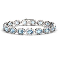 15.74 CTW Aquamarine & Diamond Halo Bracelet 10K White Gold - REF-345K5W - 41114