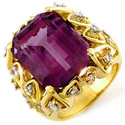 14.40 CTW Amethyst & Diamond Ring 10K Yellow Gold - REF-83T6M - 10192