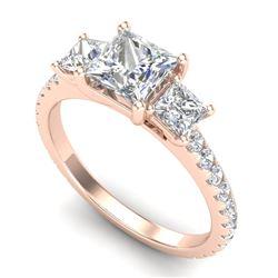 2.14 CTW Princess VS/SI Diamond Art Deco 3 Stone Ring 18K Rose Gold - REF-454H5A - 37206
