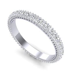 1.87 CTW VS/SI Diamond Art Deco Eternity Men's Band Size 10 18K White Gold - REF-161H8A - 37208