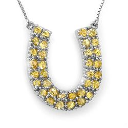 2.0 CTW Yellow Sapphire Necklace 14K White Gold - REF-56M8H - 11710