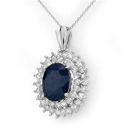 11.20 CTW Blue Sapphire & Diamond Pendant 18K White Gold - REF-236A4X - 12995