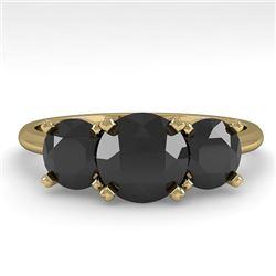 2 CTW Black Diamond Past Present Future Designer Ring 18K Yellow Gold - REF-91F8N - 32467