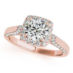1.5 CTW Certified VS/SI Diamond Solitaire Halo Ring 18K Rose Gold - REF-360W2F - 26252