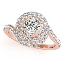 1.33 CTW Certified VS/SI Diamond Solitaire Halo Ring 18K Rose Gold - REF-156F5N - 27046