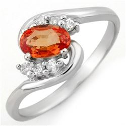 0.70 CTW Orange Sapphire & Diamond Ring 10K White Gold - REF-17W3F - 10346