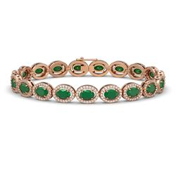 15.2 CTW Emerald & Diamond Halo Bracelet 10K Rose Gold - REF-255T3M - 40452