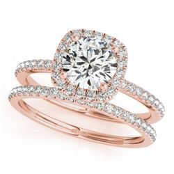 1.70 CTW Certified VS/SI Diamond 2Pc Wedding Set Solitaire Halo 14K Rose Gold - REF-488M2H - 30664