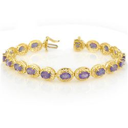 18.0 CTW Tanzanite Bracelet 10K Yellow Gold - REF-121N8Y - 11329