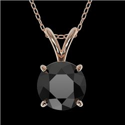 1 CTW Fancy Black VS Diamond Solitaire Necklace 10K Rose Gold - REF-26K3W - 33186