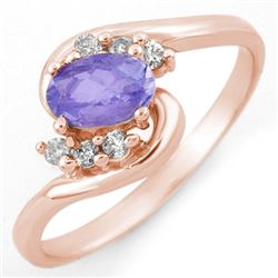 0.60 CTW Tanzanite & Diamond Ring 14K Rose Gold - REF-27X6T - 10173