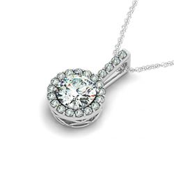 0.45 CTW Certified SI Diamond Solitaire Halo Necklace 14K White Gold - REF-47Y3K - 29974