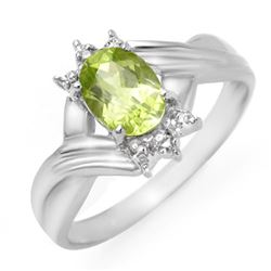 1.04 CTW Peridot & Diamond Ring 10K White Gold - REF-15K5W - 13446