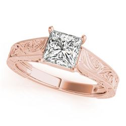 0.75 CTW Certified VS/SI Princess Diamond Ring 18K Rose Gold - REF-180X2T - 28123