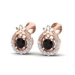0.47 CTW Black & Micro Pave VS/SI Diamond Halo Solitaire Earrings 14K Rose Gold - REF-24A9X - 20047