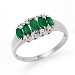 0.77 CTW Emerald & Diamond Ring 18K White Gold - REF-37F5N - 12394