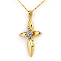 0.02 CTW Certified VS/SI Diamond Pendant 10K Yellow Gold - REF-12A5X - 13291