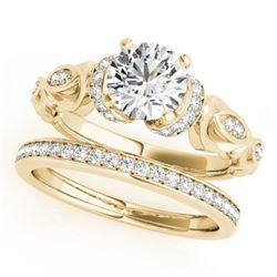 0.95 CTW Certified VS/SI Diamond Solitaire 2Pc Wedding Set Antique 14K Yellow Gold - REF-163A5X - 31