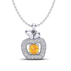 0.30 CTW Citrine & VS/SI Diamond Micro Pave Halo Necklace 18K White Gold - REF-30W4F - 20377