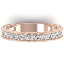 1.25 CTW VS/SI Diamond Art Deco Eternity Band Ring 14K Rose Gold - REF-96M4H - 30322