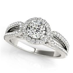 0.75 CTW Certified VS/SI Diamond Solitaire Halo Ring 18K White Gold - REF-95W8F - 26419
