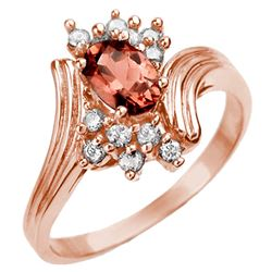 0.80 CTW Pink Tourmaline & Diamond Ring 14K Rose Gold - REF-36K2W - 10005
