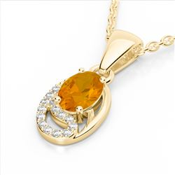 1.25 CTW Citrine & Micro Pave VS/SI Diamond Necklace 10K Yellow Gold - REF-18H9A - 22348