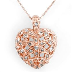 0.70 CTW Certified VS/SI Diamond Necklace 14K Rose Gold - REF-88A2X - 11573