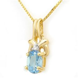 0.91 CTW Blue Topaz & Diamond Pendant 10K Yellow Gold - REF-9H3A - 12816