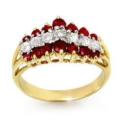 1.06 CTW Ruby & Diamond Ring 10K Yellow Gold - REF-30M5H - 12388