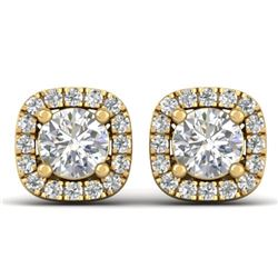 1.08 CTW Certified VS/SI Diamond Solitaire Stud Halo Earrings 14K Yellow Gold - REF-103Y3K - 30422