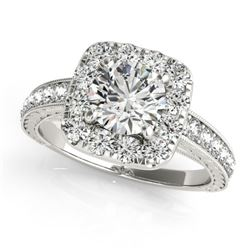 1.36 CTW Certified VS/SI Diamond Solitaire Halo Ring 18K White Gold - REF-241A8X - 26548