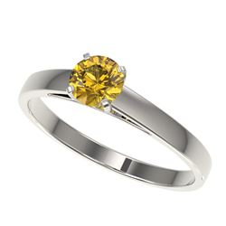 0.54 CTW Certified Intense Yellow SI Diamond Solitaire Engagement Ring 10K White Gold - REF-63Y8K -