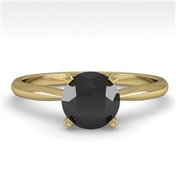 1.0 CTW Black Diamond Engagement Designer Ring 18K Yellow Gold - REF-44A5X - 32404