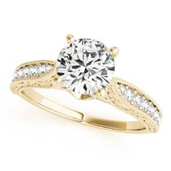 0.98 CTW Certified VS/SI Diamond Solitaire Antique Ring 18K Yellow Gold - REF-205F8N - 27356
