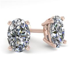 1.0 CTW Oval Cut VS/SI Diamond Stud Designer Earrings 18K Rose Gold - REF-180N2Y - 32270