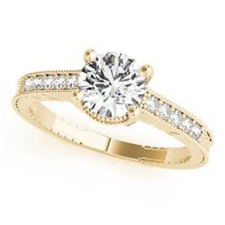 0.97 CTW Certified VS/SI Diamond Solitaire Antique Ring 18K Yellow Gold - REF-202K2W - 27389