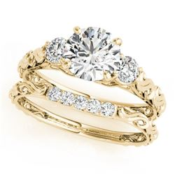 1.39 CTW Certified VS/SI Diamond 3 Stone 2Pc Wedding Set 14K Yellow Gold - REF-368T2M - 32056