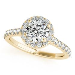 1.4 CTW Certified VS/SI Diamond Solitaire Halo Ring 18K Yellow Gold - REF-377N6Y - 26394