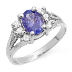 1.43 CTW Tanzanite & Diamond Ring 18K White Gold - REF-49X5T - 14408