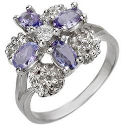 0.83 CTW Tanzanite & Diamond Ring 14K White Gold - REF-44Y2K - 10825