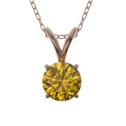 0.53 CTW Certified Intense Yellow SI Diamond Solitaire Necklace 10K Rose Gold - REF-70H5A - 36733